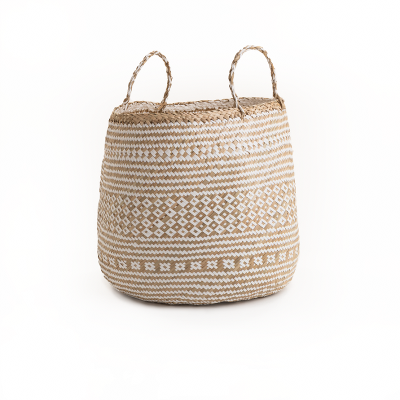 Strada Natural & White Seagrass Barrel Basket - Large - FabFinds