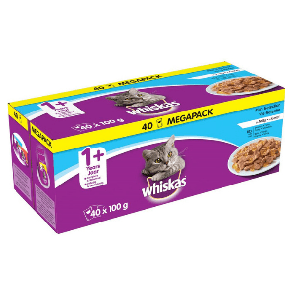 Whiskas 1+ Fish Selection in Jelly Cat Food 40 Pouches - FabFinds