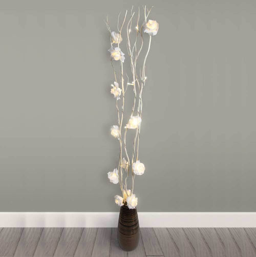 White Rose Branch Tree Twig Led Lights