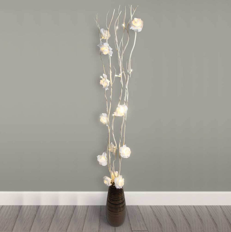 White Rose Branch Tree Twig Led Lights - FabFinds