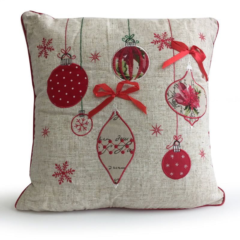 Deck the Halls Christmas Baubles Embroidered Cushion - FabFinds