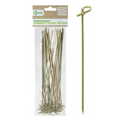 Biodegradable 30 Bamboo Top Knot Skewers 25cm