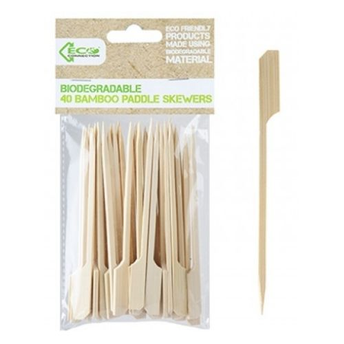 Biodegradable 40 Bamboo Paddle Skewers
