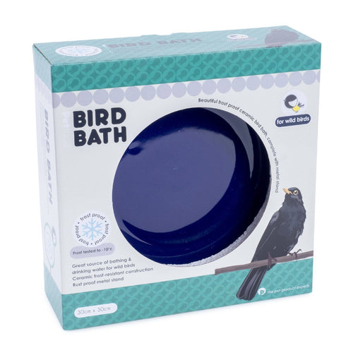 Petface Ceramic Garden Wild Bird Bath - Blue
