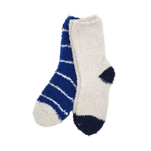 Boy's Cosy Snuggle Socks Blue Twin Pack 3-8yrs