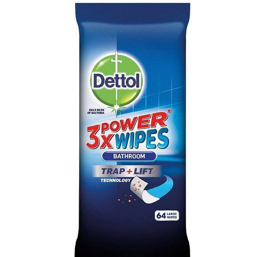 Dettol 3x Power Gel Large Bathroom Cleaning Wipes 64's