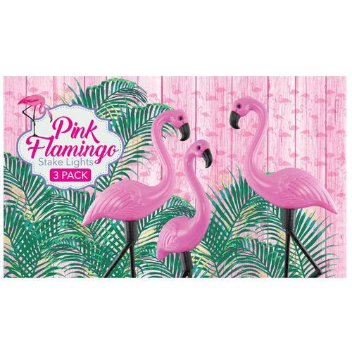 Pink Standing Flamingo Solar Powered Garden Stake Lights Pack of 3