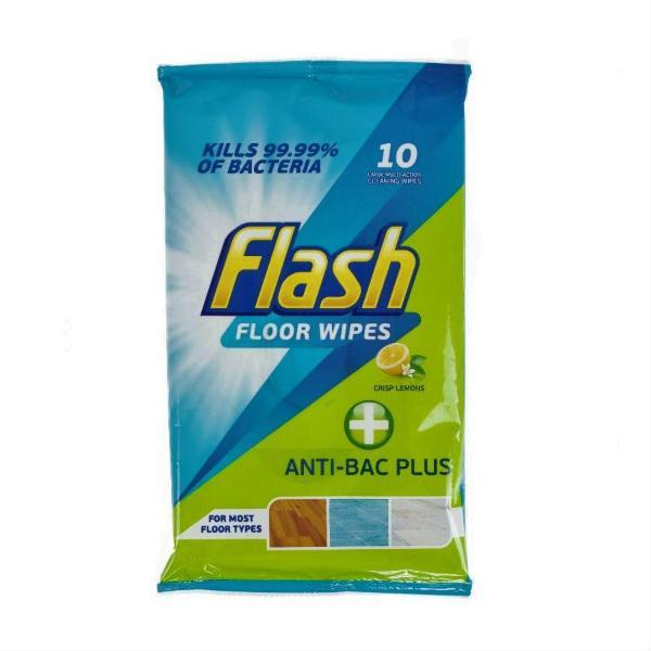 Flash Antibacterial Floor Cleaning Wipes 10s - FabFinds
