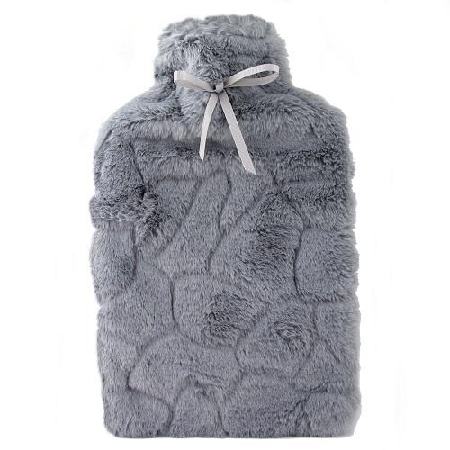Avery Grey Faux Fur Hot Water Bottle & Cover Set