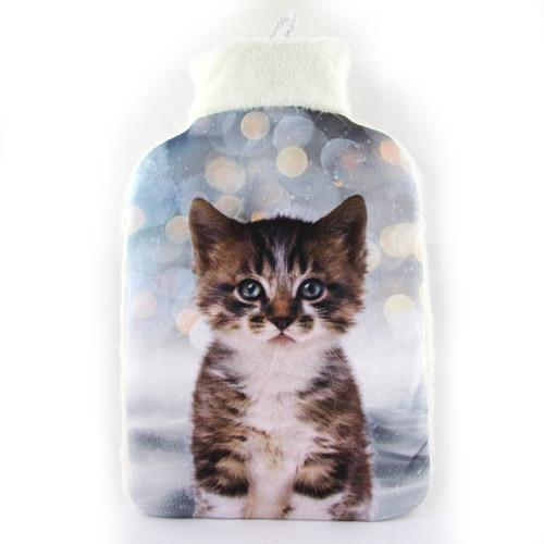 Cosy & Snug Fleece Kitten Hot Water Bottle 2 Litre - FabFinds