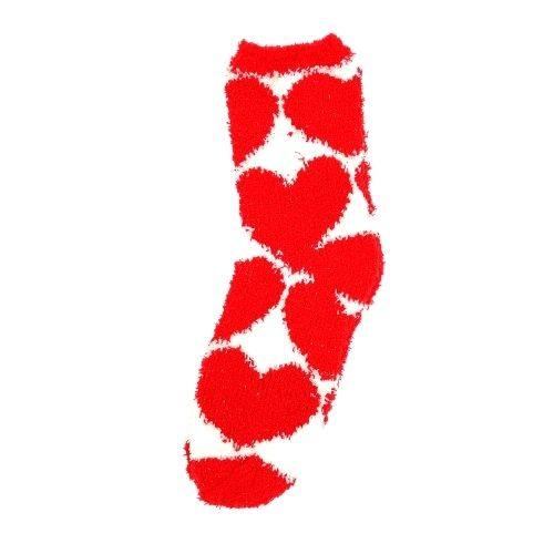 Women's Fluffy Lounge Socks Red Hearts One Size