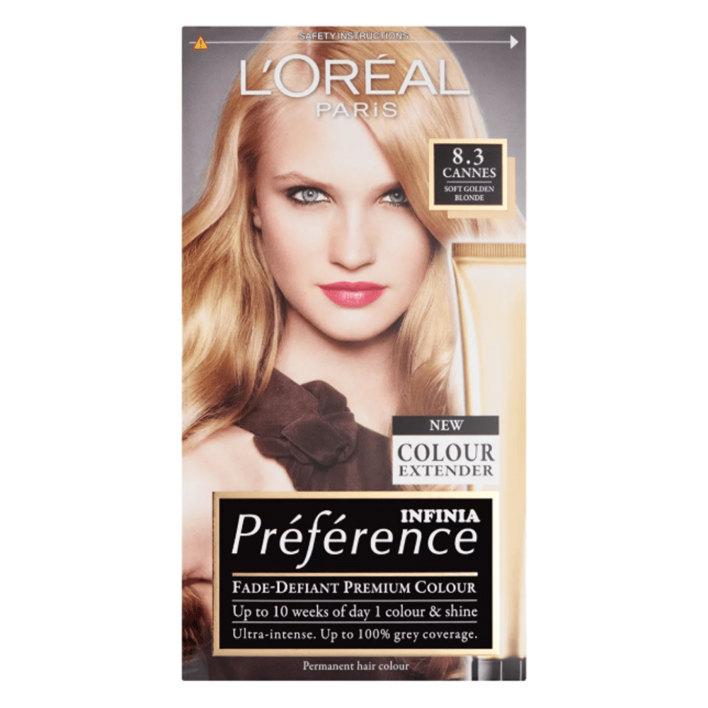 L'Oreal Preference Hair Colour 8.3 Cannes Champagne Golden Blonde 210ml - FabFinds