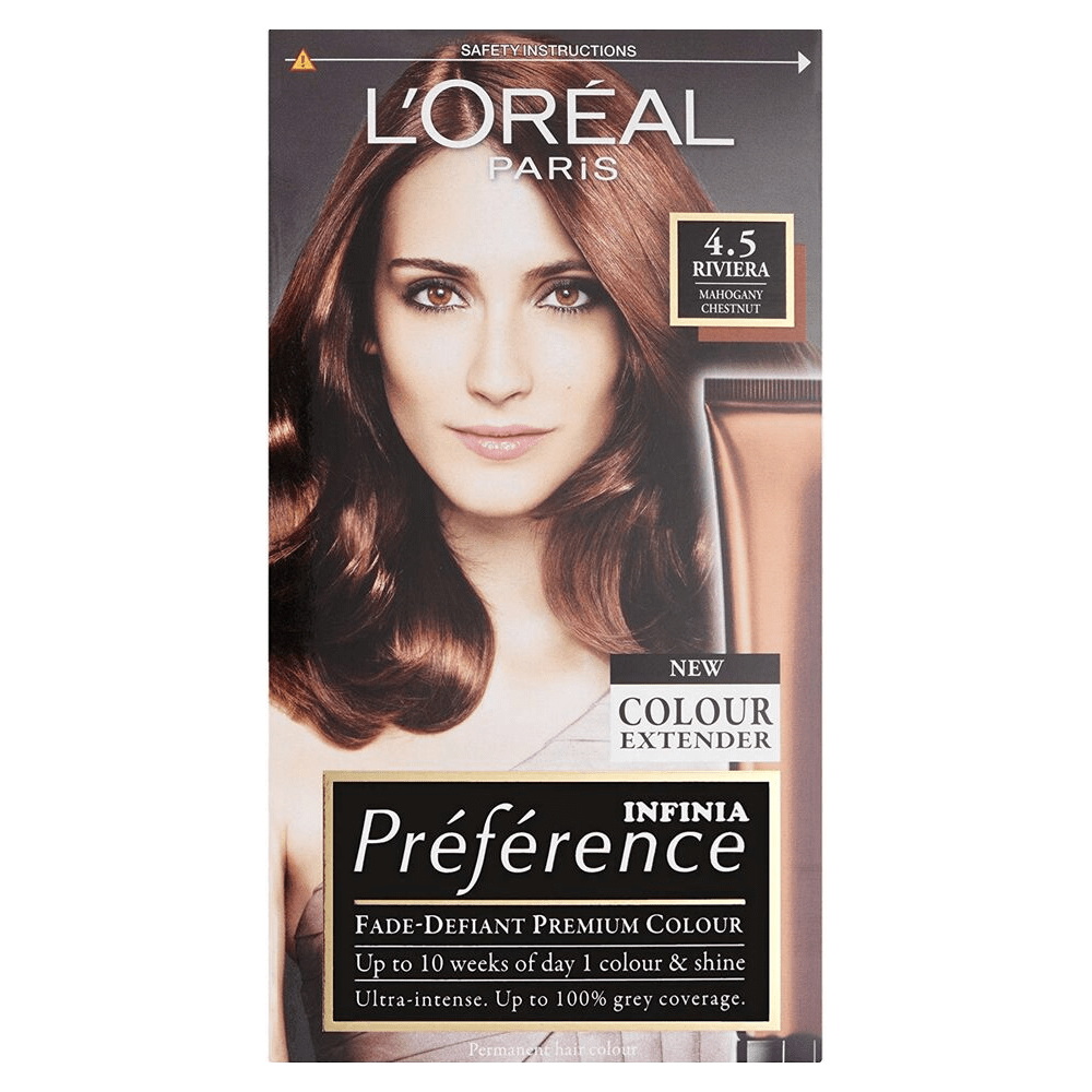 L'Oreal Preference Hair Colour 4.5 Riviera Mahogany Chestnut 210ml - FabFinds
