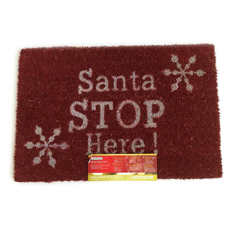 Gardman PVC-backed Santa Stop Here! Festive Welcome Mat - FabFinds