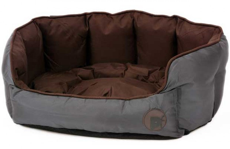 Petface Waterproof Oxford Oval Bed Small - Chocolate - FabFinds