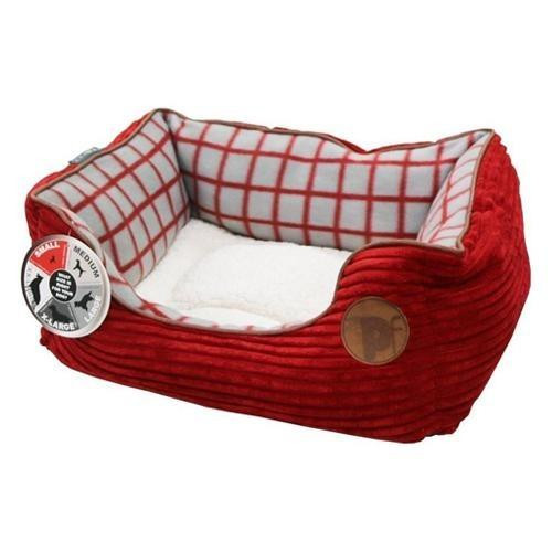 Petface Red Jumbo Cord Window Pane Dog Bed Square - Assorted
