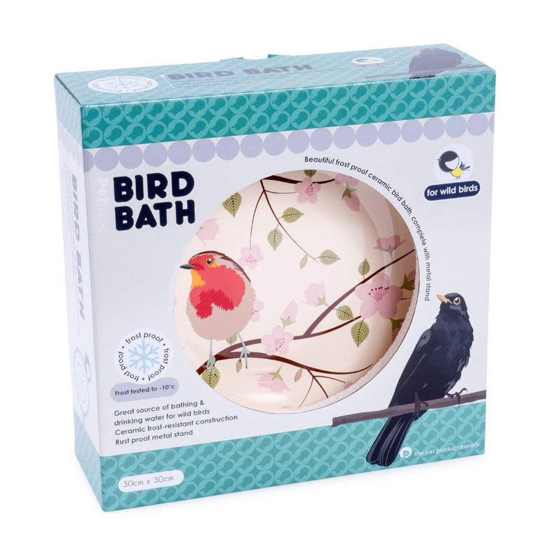 Petface Ceramic Garden Wild Bird Bath - Robin Design - FabFinds