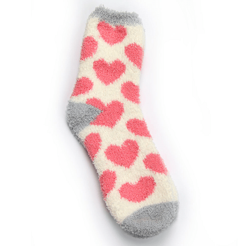 Women's Fluffy Snuggle Socks Pink Hearts One Size