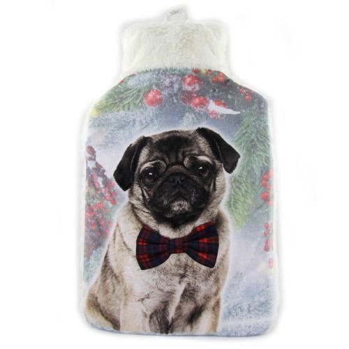 Cosy & Snug Fleece Pug Hot Water Bottle 2 Litre - FabFinds