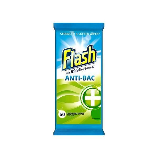Flash Antibacterial Surface Cleaning Wipes 60's - FabFinds