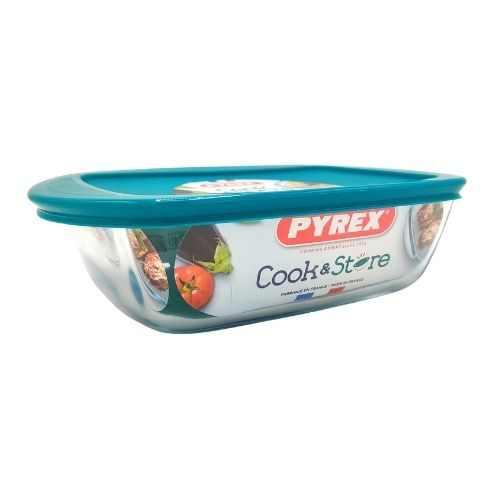 Pyrex Cook & Store Rectangular Dish With Lid 1.1 Litre Assorted Colours