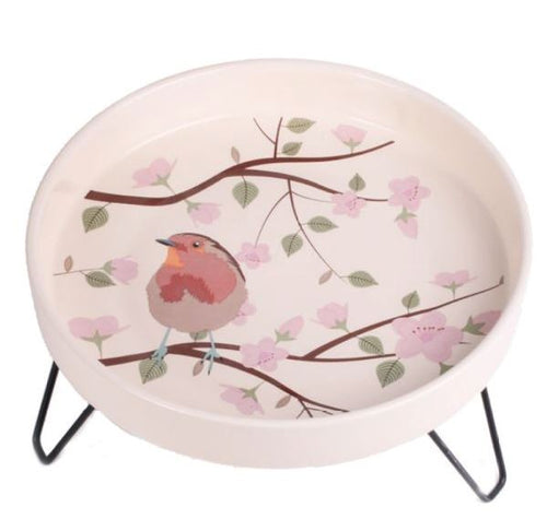 Petface Ceramic Garden Wild Bird Bath - Robin Design
