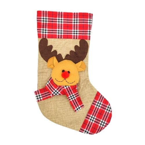 "18"" Hessian Christmas Stocking Rudolph"