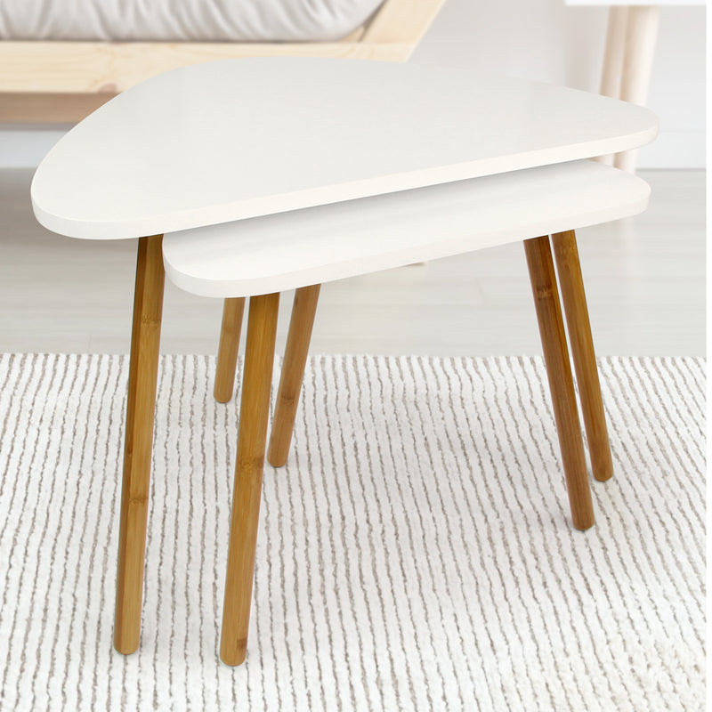 Scandinavian Nesting Tables White Tables Set of 2 - FabFinds