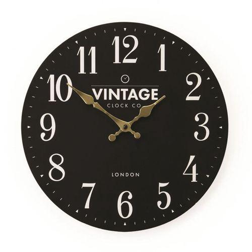 Black Vintage London Dial Wall Clock 34cm