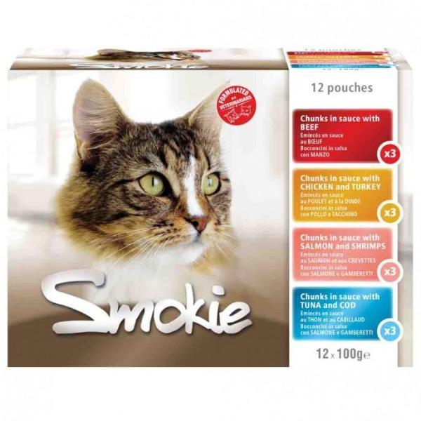 Smokie Cat Food 12 Pouches Variety of Flavours - FabFinds
