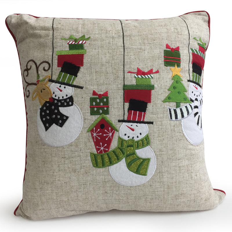 Deck the Halls Snowman Embroidered Christmas Cushion - FabFinds