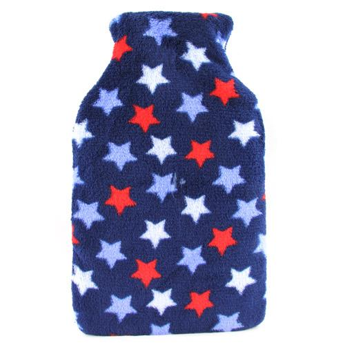 Blue and Red Stars Fleece Hot Water Bottle 1Litre - FabFinds