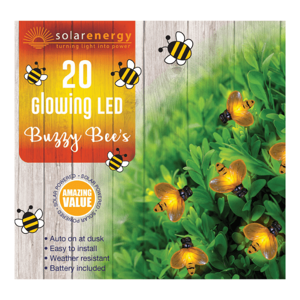 Buzzy Bees Glowing 20 LED Solar String Lights - FabFinds