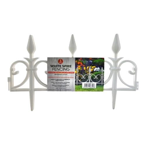 Garden Essentials White Spire Fencing 3 Pack
