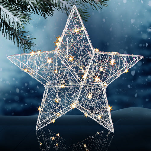 Festive Silver Light-up Star Battery Operated