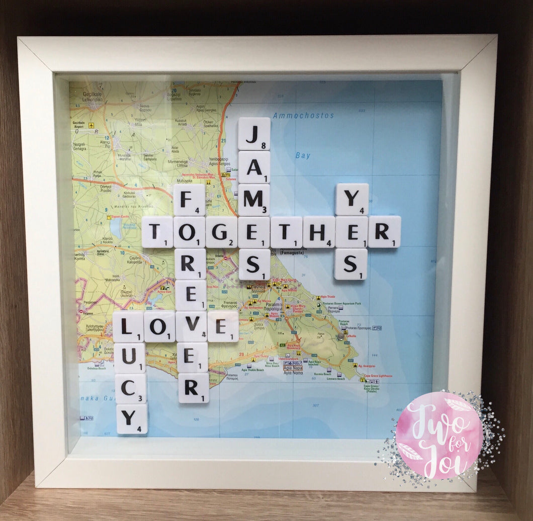Engagement Map Scrabble Frame – Two For Joi
