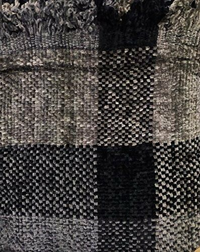 ZARA CHENILLE WOVEN BEDSPREAD THROW 145cm x 190cm MULTI BLACK CHARCOAL GREY