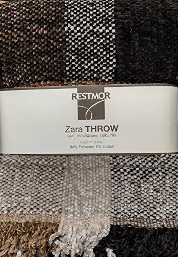 ZARA CHENILLE WOVEN BEDSPREAD THROW 145cm x 190cm CHECK BROWN LATTE CHAIR THROW