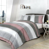 Bentley Easy Care Reversible Duvet Cover Bedding blue grey ochre blush
