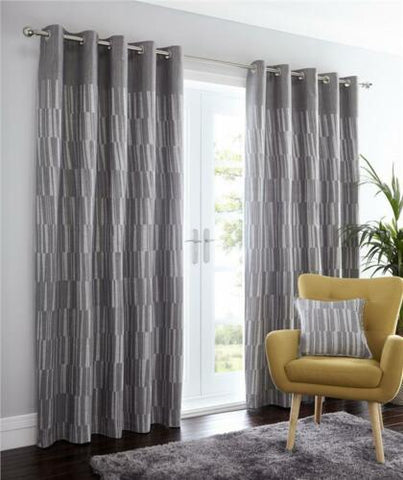 Detriot Lined curtains with eyelet ring tops in charcoal grey