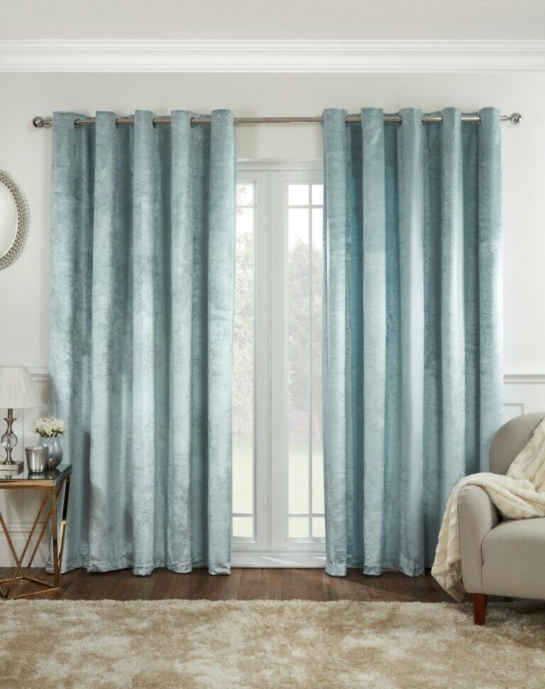Shimmer velvet effect eyelet lined curtains, Duck Egg easy to hang