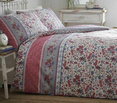 HANNAH PINK DUVET COVER SET PRETTY FLORAL STRIPE BORDER BLUE GREY WHITE ROSE BUD