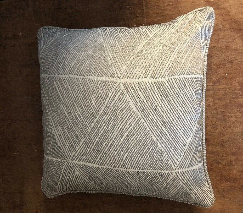 "Hugo Cushions Natural & Grey Silver Geometric 18"" x 18"" with or without pads"