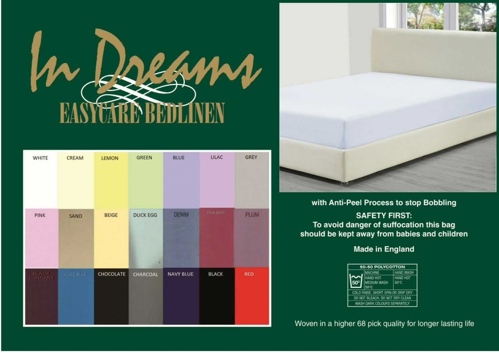 "3' 6""x 6'6""bed 15""box(suitable for electric beds) fitted sheets 68pick 21 colours"