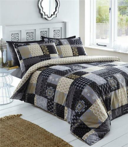 Duvet sets Remy patchwork print and geometric pattern reverse quilt cover bed sets