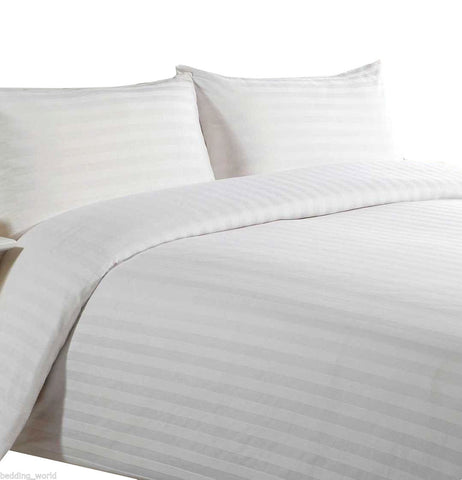 Hotel Quality White 300 T//c 100/% Cotton Sateen Stripe 90 x 200 cm fitted sheets