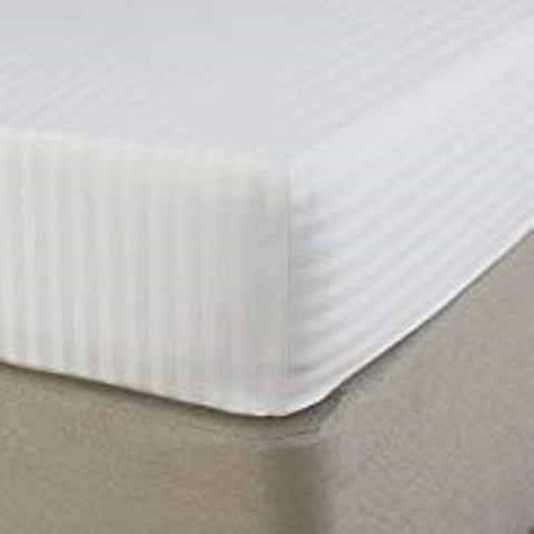 "Hotel Quality White 300 T/c 100% Cotton Sateen Stripe single bed 3' x 6'3"" fitted sheets"