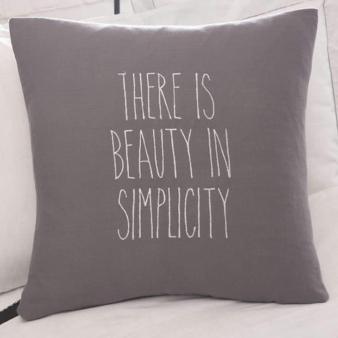 "There is beauty in simplicity - Grey Cushion complete with White Embroidery  18"" x 18"" with or without pads"