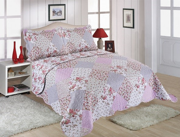 Amelia Restmor Quilted Reversible Patchwork Design Bedspread in 3 sizes with free pillow sham/s