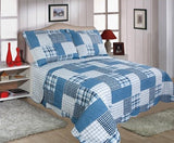 Restmor Quilted Reversible Patchwork Design Bedspread in 3 sizes with pillow shams - Check (Single includes 1 Sham)